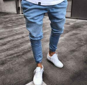 春夏新品 デニムパンツ 2色 メンズ ジーンズ ウォッシュ スキニー ジョガーパンツ 細身 裾リブ 欧米風 色サイズ選択可 ブルー XL