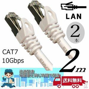 お買い得【2本セット】LANケーブル 2m Cat7 高速転送10Gbps/伝送帯域600Mhz RJ45コネクタツメ折れ防止 ノイズ対策シールドケーブル7T02x2□