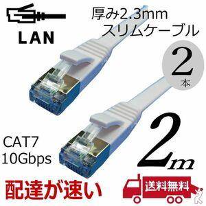スリムフラットLANケーブル 【2本】 2m Cat7 高速転送10Gbps RJ45コネクタツメ折れ防止 ノイズ対策シールドケーブル 7SM02x2