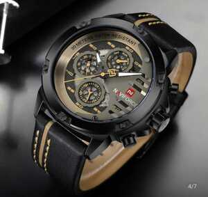 NAVIFORCE 防水時計 メンズ クォーツ 24時間日付 メンズ腕時計 BLACKBROWN 皮 BLACKYELLOW BLACKRED BLACKWHITE GOLDBROWN 1065