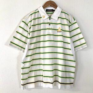 美品 le coq sportif golf ルコックゴルフ ボーダー 半袖 ポロシャツ 鹿の子 メンズ Lサイズ ホワイト イエロー グリーン GOLF