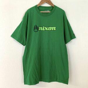 希少 NIXON ニクソン 旧ロゴ ビッグロゴ 半袖 tシャツ メンズ Lサイズ グリーン ウォッチ
