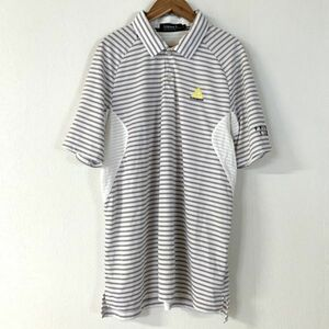 美品 le coq sportif golf ルコックスポルティフゴルフ ボーダー 半袖ポロシャツ メンズ 大きいサイズ LLサイズ ホワイト