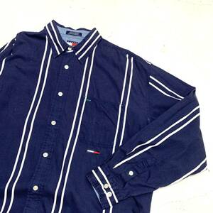 90s TOMMY JEANS ストライプシャツ XLサイズ 長袖 紺 ネイビー HILFIGER トミーヒルフィガー ジーンズ アメリカ古着 USA チノ生地