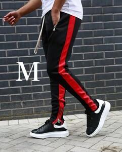 Mサイズ ファスナー付き 送料無料 ジョガーパンツ メンズ  ブラック レッド