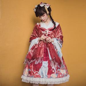 ロリータ ワンピース チャイナドレス ジャンパースカート 華ロリ 古典 中華 レディース コスプレ 白虎 花柄 可愛い 上品 華麗 民族衣装