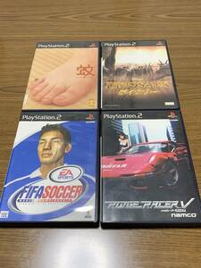 PS2ソフト 中古品 4本セット 蚊、ダイナソー、FIFAサッカー、リッジレーサーファイブ 動作未確認