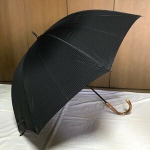 《新品》ボルサリーノ/メンズ 紳士 雨用 長傘【黒・ブラック】ストライプ・イタリー製持ち手