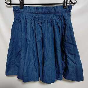 LOWRYS FARM レディース コットン インディゴブルー ウエストゴム フレアースカート ギャザースカート フリーサイズ