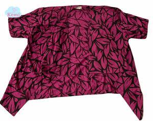 【PAPIOPA】総柄 桜柄 さくら 花柄 レトロピンク トップス ジャケット 半袖 羽織 昭和レトロ ビンテージ 状態良好◎ レディース Lサイズ