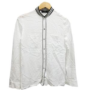 ディーゼル DIESEL シャツ ブラウス 長袖 スタンドカラー 薄手 ワンポイント 白 ホワイト 黒 ブラック