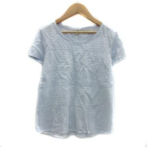 クミキョク 組曲 KUMIKYOKU Tシャツ カットソー 半袖 ラウンドネック 総柄 レース 2 水色 ライトブルー /YS25 レディース