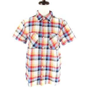 ビームスボーイ BEAMS BOY シャツ カットソー 半袖 薄手 コットン 麻混 リネン混 チェック 赤 レッド トップス /MM レディース
