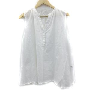 イネド INED ブラウス シャツ ノースリーブ スリットネック 透け感 リネン 13 大きいサイズ 白 ホワイト /SM24 レディース