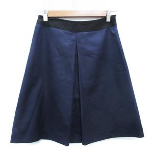 ユナイテッドアローズ UNITED ARROWS スカート フレア ひざ丈 36 紺 黒 ネイビー ブラック /FF26 レディース