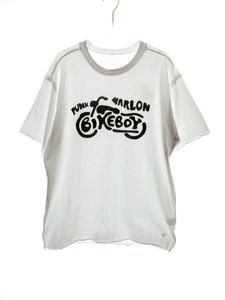 フラグメントデザイン FRAGMENT DESIGN BIKE BOY TEE 黒ロゴ ×AKA SIX simon barker Tシャツ L/ 白 210511★