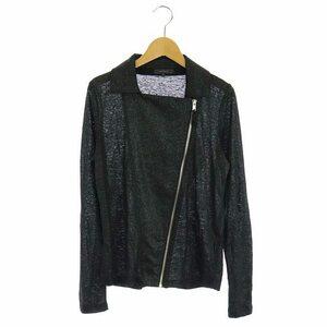アルチザン ARTISAN ジャケット ジップアップ ニット ラメ リネン 9 黒 ブラック /HH レディース