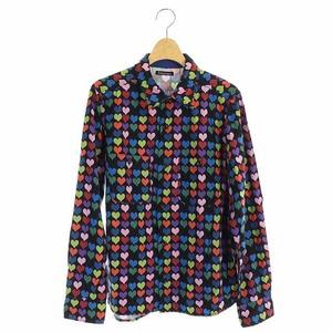 ボヘミアンズ BOHEMIANS ハートプリントシャツ 長袖 胸ポケット 総柄 1 黒 マルチカラー ブラック /ES ■OS メンズ
