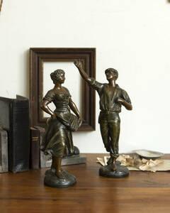 jf02078 仏国*フランスアンティーク*雑貨 少女のブロンズ像 銅像 人形 踊り子 オブジェ ミュージカル ディスプレイ アート作品 芸術 置物