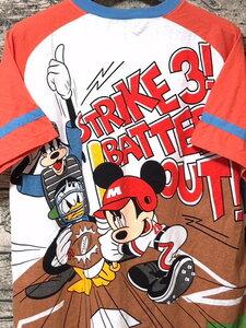 TOKYO Disneyland ミッキーマウス Tシャツ L ベースボールディズニー Vネック