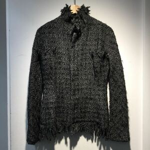 YOHJI YAMAMOTO ヨウジヤマモト ジャケット ツイード ブラック グレー サイズ1 481569