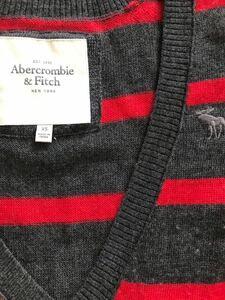 アバクロ abercrombie&fitch Vネック ニット 赤×グレー XSサイズ ウールニット ボーダー セーター アメカジ