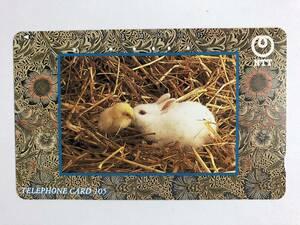 【使用済/両面に少々傷有】<テレホンカード>ウサギとヒヨコ(105度/穴6孔)の商品画像