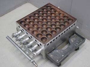 03-16213 中古品 たこ焼器(銅板) 業務用 焼き器 たこ焼き ガス式 都市 天然 6本バーナー 1枚銅板 42穴 屋台 テイクアウト ステンレス たこ