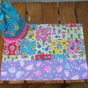 3-2N14C レトロガール ランチョンマット コップ袋  給食袋 巾着袋 ハンドメイド ランチクロス ランチマット 給食袋