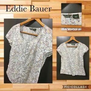 ◆Eddie Bauer エディーバウアー 半袖カットソー 花柄 ペイズリー柄 くるみボタン 裾ラウンド コットン100% 薄手 サイズPS 比較的綺麗
