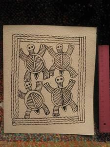 1989年 平成元年 ミティラー民族画展 鹿児島市立美術館 30年以上前に当時購入した絵画 亀? カメ? かめ? 詳細不明