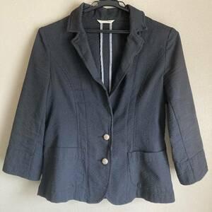 スーツ テーラードジャケット favori 黒 綿 春夏 サマージャケット