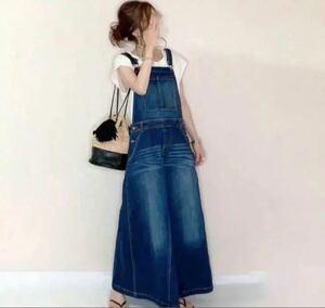 デニム ワンピース 甘すぎない 大人な女性 サロペットスカート 新品