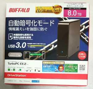 送料無料 新品 バッファロー 外付けHDD (8TB) USB 3.0用/ ハードウェア暗号機能搭載 HD-LX8.0U3D