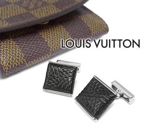 【超美品】 ルイヴィトン ブトンドゥマンシェットソーホー カフスボタン スウィヴル式 ブラック シルバーカラー ダミエケース付 刻印有り