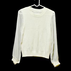 LOWRYS FARM セーター M 美品 ホワイト ニット レディース 長袖 シースルー 白 古着 ローリーズファーム
