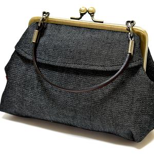 新品 がま口 ミニトート ポーチ バッグインバッグ 小物入れ かわいい 未使用 日本製 和雑貨 黒 ブラック