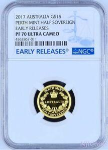 2017年オーストラリアハーフソブリン金貨 $ 15コインOGP NGC PF70 最高鑑定 UC ER 硬貨