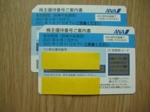 【送料無料】 ANA 株主優待券 2枚セット 有効期間:2021年6月1日~2022年5月31日