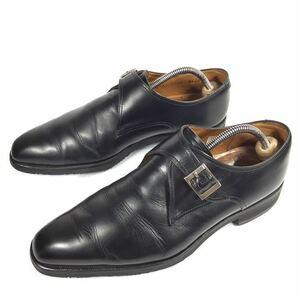 【リーガル】本物 REGAL 靴 24.5cm 黒 モンクストラップ ビジネスシューズ 本革 レザー 男性用 メンズ 日本製