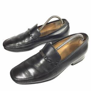 【ルイヴィトン】本物 LOUIS VUITTON 靴 25cm 黒 ロゴ金具 スリッポン ローファー ビジネスシューズ 本革 レザー 男性 メンズ イタリア製 6