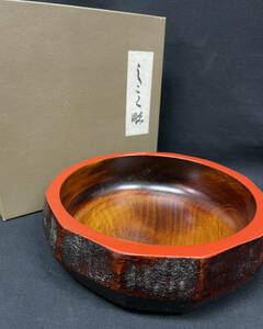 【工芸品】しこく彫り お盆 菓子器 盛器 直径18cm 木製 うるし塗装 茶道具 天然木 箱付き 中古