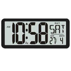 ▲送料無料 13.8インチ大型デジタルジャンボ目覚まし時計 スクエア ウォールクロック 壁掛け 卓上 時計 大型 湿度 インテリア オフィス
