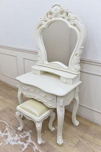 B191 新品B品 未使用 ロココ調 ドレッサー お姫玉家具 ホワイトドレッサー 鏡台 1面鏡 猫脚 椅子付き
