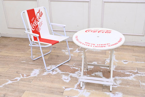 QF03 コカ・コーラ ビーチテーブル ビーチチェア 木製テーブル 椅子 2点セット