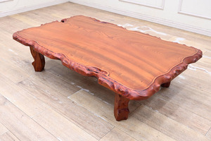 G125 高樹齢 欅 けやき 一枚板 天然木 総無垢 座卓 座敷机 ローテーブル リビングテーブル 縁は自然加工