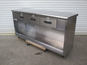 y1671-10 業務用 ステンレス 引出し付き調理台 W1500×D450×H880 ワークテーブル 店舗用品 中古 厨房