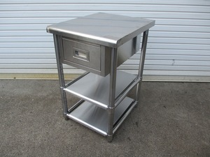 y1684-4 業務用 ステンレス 引き出し付作業台 W500×D600×H800 中古 厨房 店舗用品