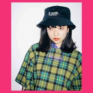 X-girl バケットハット 黒 エックスガール バケハ 帽子 日除け 日よけ帽子