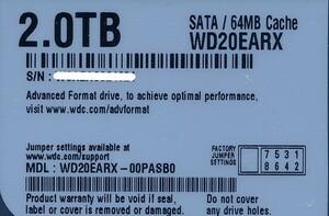Western Digital製HDD WD20EARX 2TB SATA600